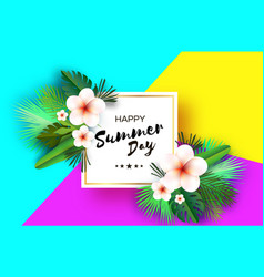tropical summer palm leaves plants flowers vector image