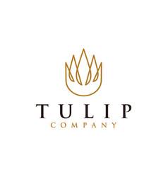tulip logo icon template with line art design vector image