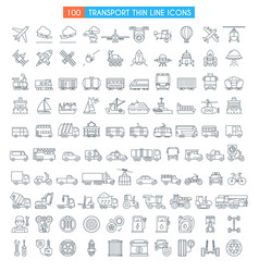 Vehicles thin line icons vector