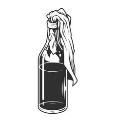 Vintage monochrome molotov cocktail concept vector