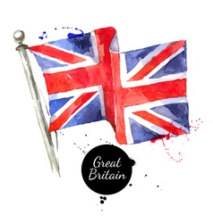Watercolor Great Britain United Kingdom flag Hand vector image