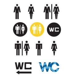 Wc symbols toilet icon male adn female wc sign vector
