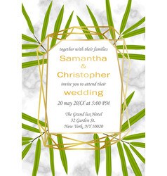 Wedding glamorous inviration with bamboo leaves vector