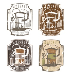 whiskey grunge labels set with home alcohol vector image