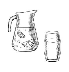 Jug and glass with fresh lemonade vector image vector image