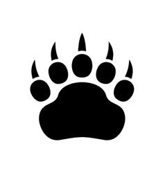 Paw black print icon on white background vector