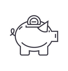 piggy line icon sign on vector image vector image