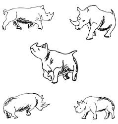 Rhinos a sketch by hand pencil drawing vector