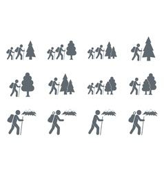 Set of 12 backpacker icons vector image