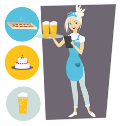 waitress with a tray and a beer set with objects vector image