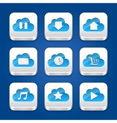 Collection of apps icons with clouds vector image