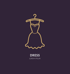 evening dress on hanger icon clothing shop line vector image vector image