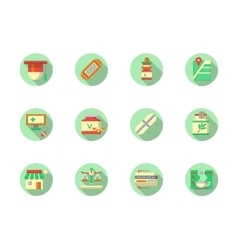 Pharmaceutical products round color icons vector image vector image