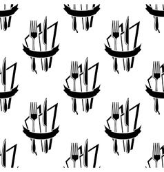 Seamless pattern of forks and knives vector image vector image