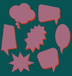set of purple speech bubbles vector image