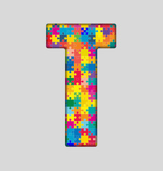 Color Puzzle Piece Jigsaw Letter - T vector image vector image