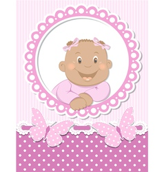 Happy African baby girl scrapbook pink frame vector image