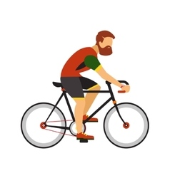 Man with beard ride by road bicycle Cycling sport vector image
