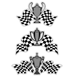 Racing sport awards and trophies vector image vector image