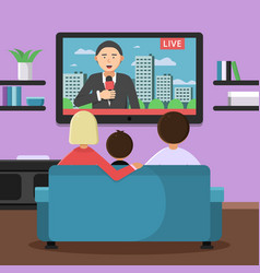 family couple sitting on sofa and watching news at vector image