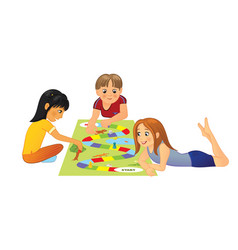 kids playing board game vector image vector image