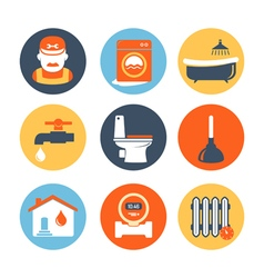 Plumbing and engineering icons set vector image vector image