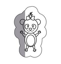 Silhouette teddy bear bow head vector