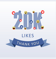 20k likes thank you number with emoji and heart vector