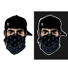 a guy in a baseball cap and bandana vector image