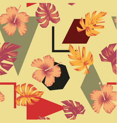 abstract composition tropical flowers leaves vector image