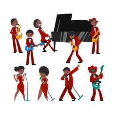 african american jazz band black men and women vector image