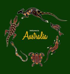 Animals australia kangaroo llizard crocodile vector