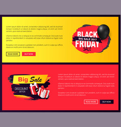 big sale on black friday promo labels with balloon vector image