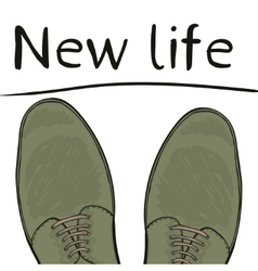 Business concept new life Feet in shoes on the vector image