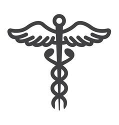 Caduceus line icon medicine and healthcare vector