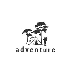 camping logo with tent and trees view vector image