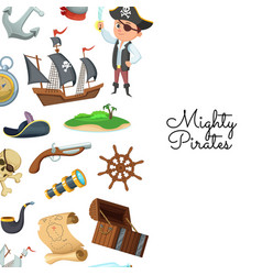 cartoon sea pirates pirate treasure vector image