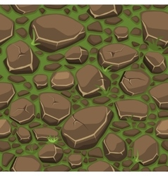 Cartoon stone on grass texture in brown colors vector