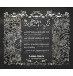 Chalk Thanksgiving frame vector