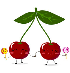 cherries red smiles with sweets vector image