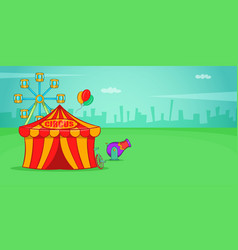 Circus horizontal banner cartoon style vector