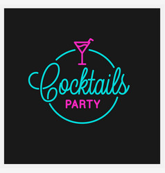 cocktail party logo round linear logo cocktail vector image