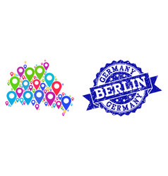 collage map of berlin city with map pointers and vector image
