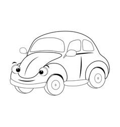 Colorless funny cartoon car vector