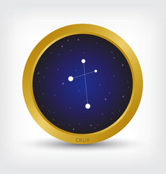 Crux constellation in golden circle vector