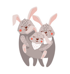cute hand drawn happy hare family on white vector image