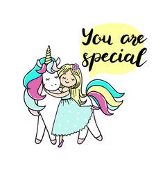 cute little girl is cuddeling unicorn vector image