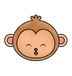 Cute scribble monkey face cartoon vector