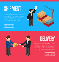 Delivery and shipment isometric banners vector