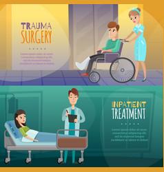 doctors patients horizontal banners vector image